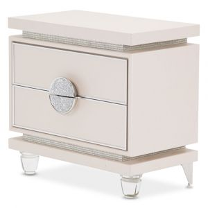 AICO by Michael Amini - Glimmering Heights Upholstered Nightstand in Ivory - 9011040-111