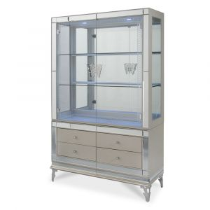 AICO by Michael Amini - Hollywood Swank Curio w/ Drawer Front in Pearl Caviar