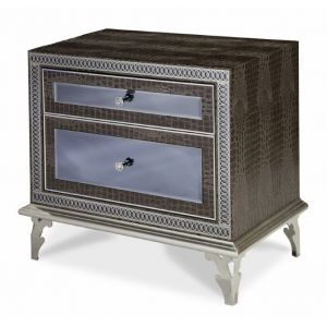 AICO by Michael Amini - Hollywood Swank Upholstered Nightstand in Amazing Gator - 03040-33