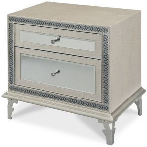 AICO by Michael Amini - Hollywood Swank Upholstered Nightstand in Crystal Croc - NT03040-09