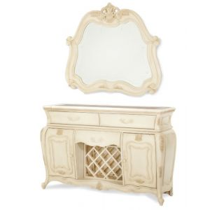 AICO by Michael Amini - Lavelle Sideboard and Mirror in Blanc