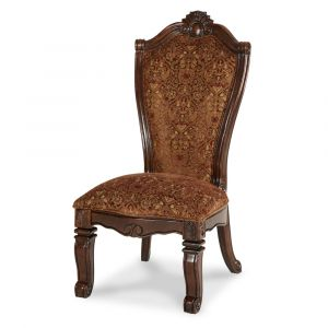 AICO by Michael Amini - Windsor Court Side Chair Fabric Back in Vintage Fruitwood (Set of 2) - 70003-54