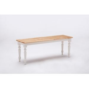 Boraam - Farmhouse Bench in White and Natural - 36369