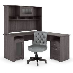 Bush Furniture - Cabot 60W L Shaped Desk with Hutch and Mid Back Tufted Office Chair in Heather Gray - CAB063HRG