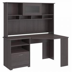 Bush Furniture - Cabot Corner Desk with Hutch in Heather Gray - CAB008HRG