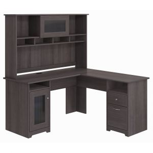 Bush Furniture - Cabot L Shaped Desk with Hutch in Heather Gray - CAB001HRG