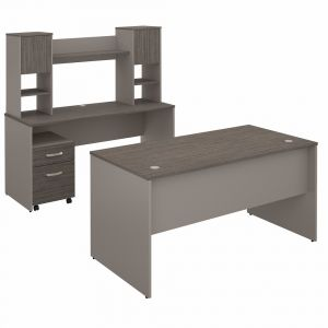 Bush Furniture - Commerce 60W Office Desk with Credenza - Hutch and Mobile File Cabinet in Cocoa and Pewter - CMM019COP