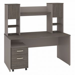 Bush Furniture - Commerce 60W Office Desk with Hutch and Mobile File Cabinet in Cocoa and Pewter - CMM013COP