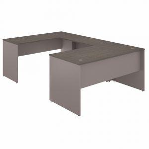 Bush Furniture - Commerce 60W U Shaped Desk in Cocoa and Pewter - CMD460COPK
