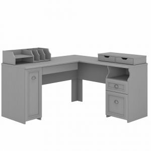 Bush Furniture - Fairview 60W L Shaped Desk with Storage and Desktop Organizers in Cape Cod Gray - FV022CG