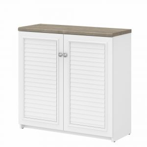 Bush Furniture - Fairview Small Storage Cabinet with Doors and Shelves in Pure White and Shiplap Gray - WC53696-03