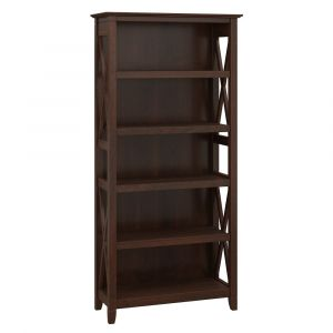 Bush Furniture - Key West 5 Shelf Bookcase in Bing Cherry - KWB132BC-03
