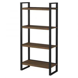 Bush Furniture - Latitude 4 Shelf Etagere Bookcase in Rustic Brown Embossed - LAB130RB-03