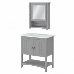 Bush Furniture Salinas 32w Bathroom Vanity Sink And Medicine Cabinet With Mirror In Cape Cod Gray Sal020cg