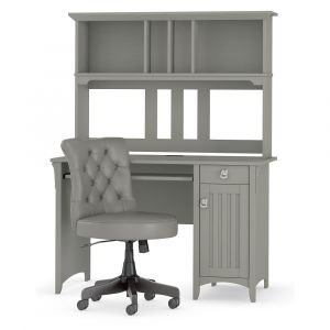 Bush Furniture - Salinas 48W Computer Desk with Hutch and Midback Tufted Office Chair in Cape Cod Gray - SAL012CG