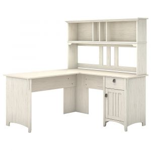Bush Furniture - Salinas 60W L Shaped Desk with Hutch in Antique White - SAL004AW