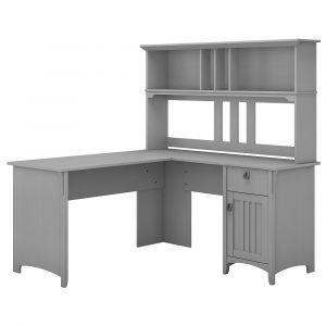 Bush Furniture - Salinas 60W L Shaped Desk with Hutch in Cape Cod Gray - SAL004CG