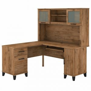Bush Furniture - Somerset 60W L Shaped Desk with Hutch in Fresh Walnut - SET002FW