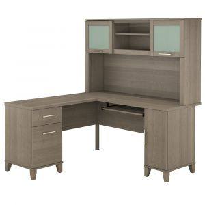 Bush Furniture - Somerset 60W L Shaped Desk with Hutch in Ash Gray - SET002AG