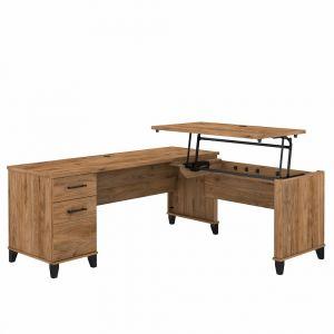 Bush Furniture - Somerset 72W 3 Position Sit to Stand L Shaped Desk in Fresh Walnut - SET014FW