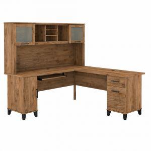 Bush Furniture - Somerset 72W L Shaped Desk with Hutch in Fresh Walnut - SET001FW