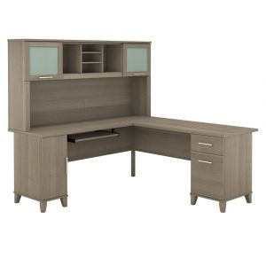 Bush Furniture - Somerset 72W L Shaped Desk with Hutch in Ash Gray - SET001AG