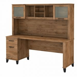 Bush Furniture - Somerset 72W Office Desk with Drawers and Hutch in Fresh Walnut - SET018FW