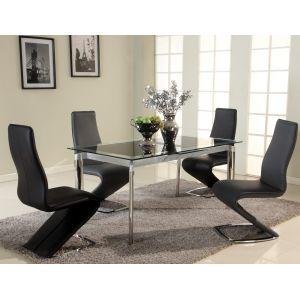 Chintaly - Tara Black 5 Piece Dining Set With Tara Side Chairs - TARA-DT-BLK_SC-BLK_SC-BLK