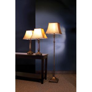 Coaster - 3 Pc Floor & Table Lamps Set in Brown Finish - 901160