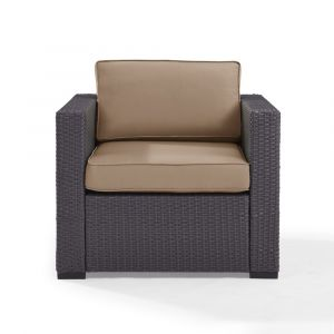 Crosley Furniture - Biscayne Armchair With Mocha Cushions - KO70130BR-MO