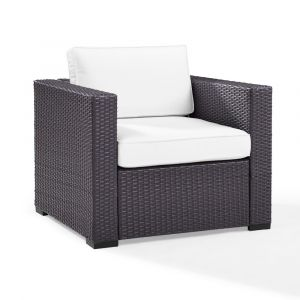 Crosley Furniture - Biscayne Armchair With White Cushions - KO70130BR-WH