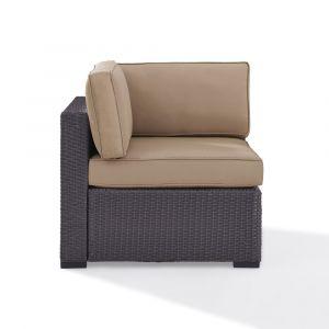 Crosley Furniture - Biscayne Corner Chair With Mocha Cushions - KO70126BR-MO