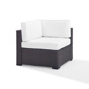 Crosley Furniture - Biscayne Corner Chair With White Cushions - KO70126BR-WH