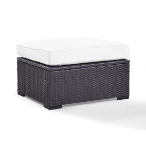 Crosley Furniture - Biscayne Ottoman With White Cushions - KO70127BR-WH