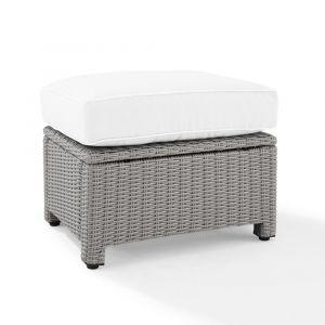 Crosley Furniture - Bradenton Outdoor Ottoman - Sunbrella White/Gray - KO70014GY-WH