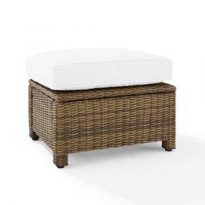 Crosley Furniture - Bradenton Outdoor Ottoman - Sunbrella White/Weathered Brown - KO70014WB-WH