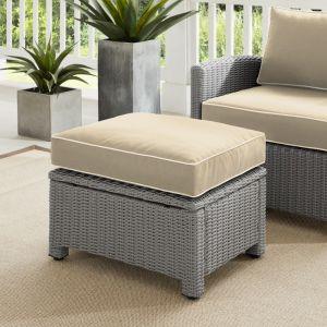 Crosley Furniture - Bradenton Outdoor Wicker Ottoman Sand-Gray - KO70014GY-SA