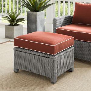Crosley Furniture - Bradenton Outdoor Wicker Ottoman Sangria-Gray - KO70014GY-SG