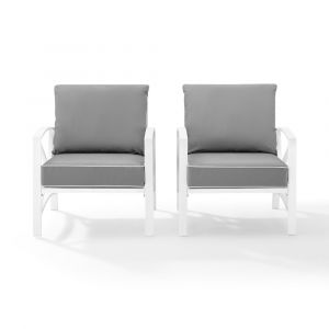 Crosley Furniture - Kaplan 2 Piece Outdoor Chair Set Gray/White - 2 Chairs - KO60013WH-GY