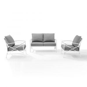 Crosley Furniture - Kaplan 3 Piece Outdoor Conversation Set Gray/White - Loveseat, 2 Chairs - KO60011WH-GY