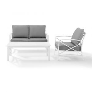 Crosley Furniture - Kaplan 3 Piece Outdoor Conversation Set Gray/White - Loveseat, Chair , & Coffee Table - KO60014WH-GY