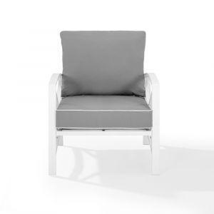 Crosley Furniture - Kaplan Arm Chair Gray/White - KO60007WH-GY