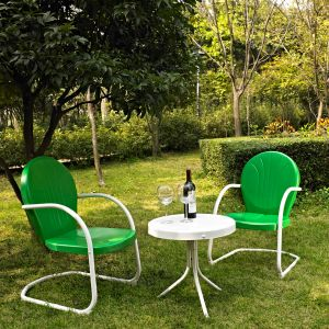 Crosley Furniture - Griffith 3 Piece Metal Outdoor Conversation Seating Set - Two Chairs in Grasshopper Green Finish with Side Table in White Finish - KO10004GR