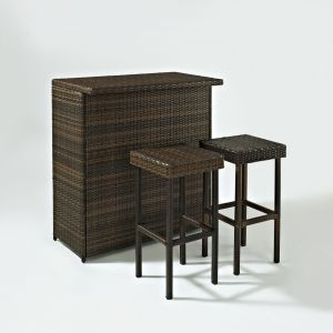 Crosley Furniture - Palm Harbor 3 Piece Outdoor Wicker Bar Set - Table & Two Stools - KO70009BR