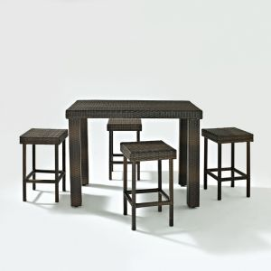 Crosley Furniture - Palm Harbor 5 Piece Outdoor Wicker High Dining Set - Table & Four Stools - KO70010BR