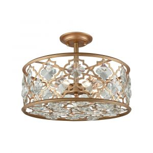 ELK Lighting - Armand 4 Light Semi Flush In Matte Gold With Clear Crystal - 32092/4