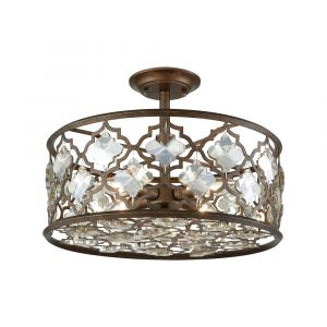 ELK Lighting - Armand 4 Light Semi Flush In Weathered Bronze With Champagne Plated Crystal - 31092/4