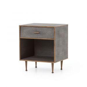 Four Hands - Shagreen Bedside Table - Antique Brass - VBEN-001