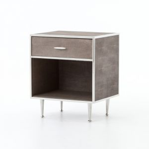 Four Hands - Shagreen Bedside Table - Stainless Steel - VBEN-001A