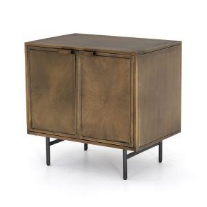 Four Hands - Sunburst Cabinet Nightstand - Aged Brass - IELE-103
